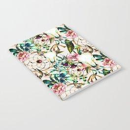 Bohemian Skull Pattern Flowery Vibrant Colors Notebook