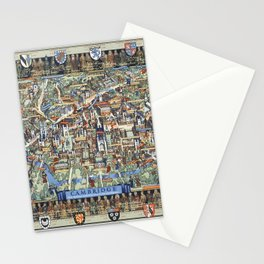 Cambridge University campus map Stationery Cards