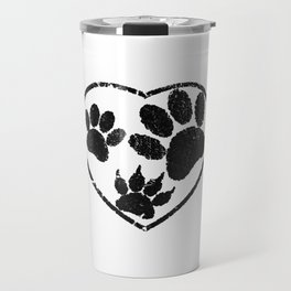 Rubber Stamped Heart And Pet Paw Prints Travel Mug
