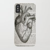 anatomical heart iPhone & iPod Cases featuring Anatomical Heart on French by CrowBiz