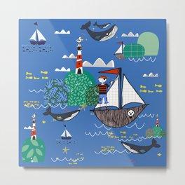 Pirates Ahoy Blue Metal Print