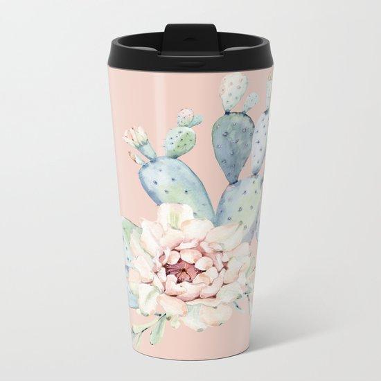 Sweet Pink Rose Desert Cactus Metal Travel Mug