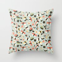 novelty Throw Pillows featuring Yummy Sushi! by Eine Kleine Design Studio