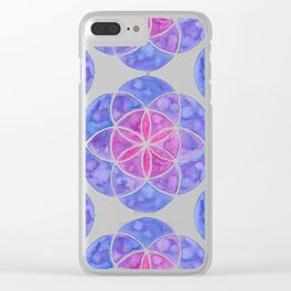 Watercolor Seed Of Life - Purple Tones Clear iPhone Case
