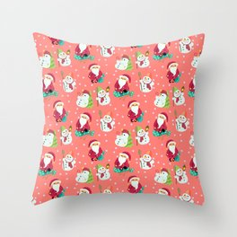 Pink Winter Forest with Cute Snowmen and Santas Throw Pillow