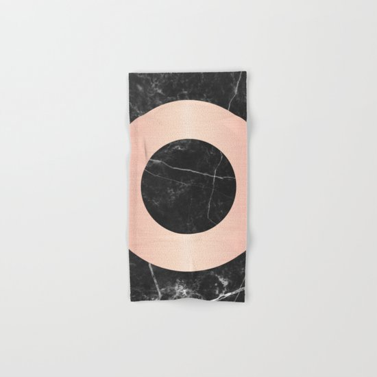 Black Marble with Pink Circle Hand & Bath Towel