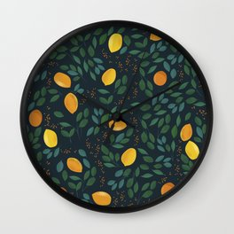 Citrus fruit yellow lemons on a branch with green leaves. Vintage hand drawn illustration pattern Wall Clock
