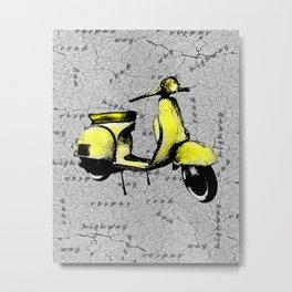 Yellow Vespa Scooter Metal Print