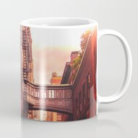 new york city Mugs featuring New York City Alley by Vivienne Gucwa