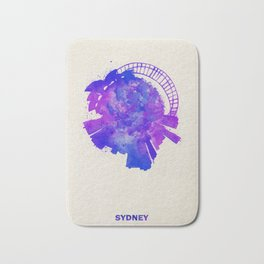 Sydney, Australia Colorful Skyround / Skyline Watercolor Painting Bath Mat