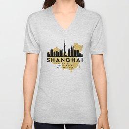 SHANGHAI CHINA SILHOUETTE SKYLINE MAP ART Unisex V-Neck