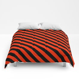 Bright Red and Black Diagonal LTR Stripes Comforters