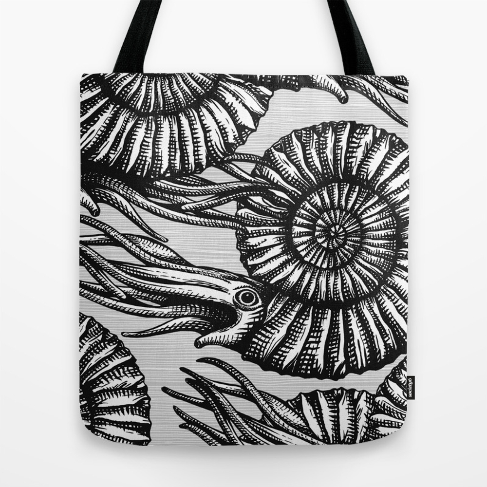 Ammonite Collection B&w Tote Purse by Chiccabesso (TBG2548936) photo
