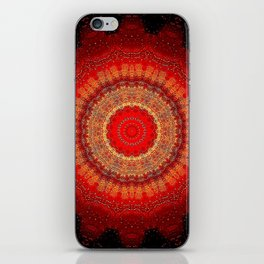 Vibrant Red Gold and black Mandala iPhone Skin