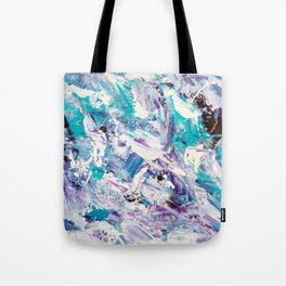 Purple turquoise blue abstract mermaid brushstrokes acrylic painting Tote Bag