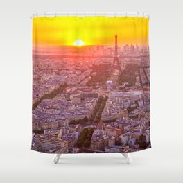 Sunset in Paris City Shower Curtain