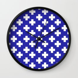 Plus Signs (White & Navy Blue Pattern) Wall Clock