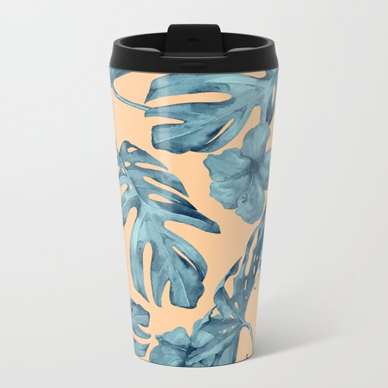 Island Life Hibiscus Palm Apricot Teal Blue Metal Travel Mug