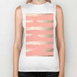 Simply Brushed Stripe in White Gold Sands on Salmon Pink Biker Tank