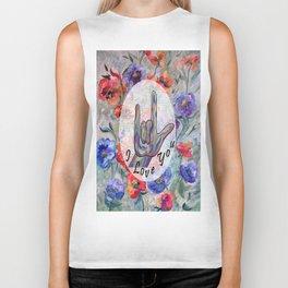 ASL Flowers and I Love You Biker Tank