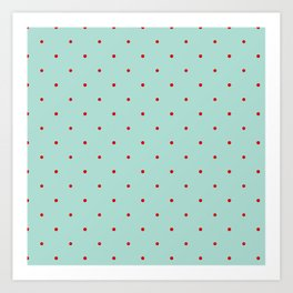 Blue with Red Dots Art Print