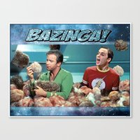 bazinga Canvas Prints featuring Tribble Bazinga by Rabittooth