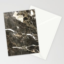 Dark Brown Marble With White Veins Stationery Cards