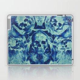 Blue Skulls (Abstract Surreal Blue Halloween Ghost Hour) Laptop & iPad Skin