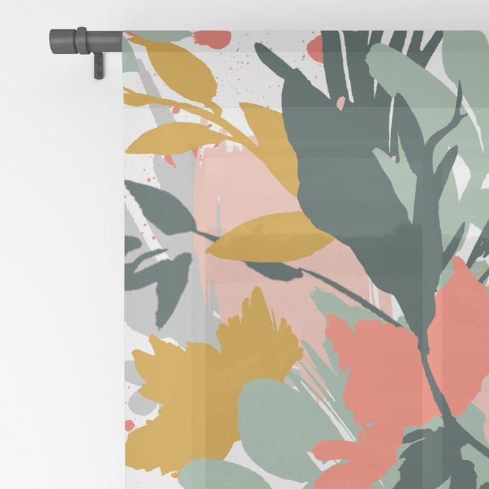 Botanical brush strokes I Sheer Curtain