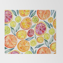 Sliced Citrus Watercolor Throw Blanket