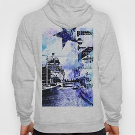 Berlin urban blue mixed media art Hoody