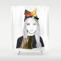 cara Shower Curtains featuring CARA DELEVINGNE by Nora Fikse