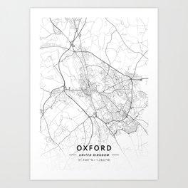 Oxford, United Kingdom - Light Map Art Print