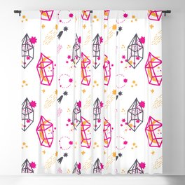 Modern hand painted pink black yellow geometrical space Blackout Curtain