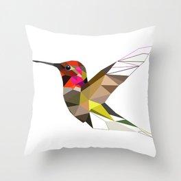 Pink hummingbird geometric bird Tropical Nature Throw Pillow