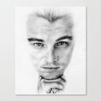 leonardo dicaprio Canvas Prints featuring Leonardo DiCaprio  by Kirstyturnerportraits