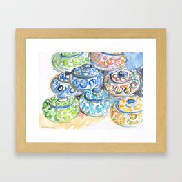 Brightly painted Moroccan bowls Framed Art Print
