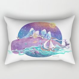 Penguins travel across the sky ocean on a purple whale island and sailboat Rectangular Pillow