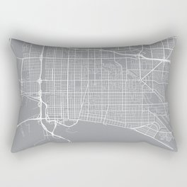 Long Beach Map, California USA - Pewter Rectangular Pillow