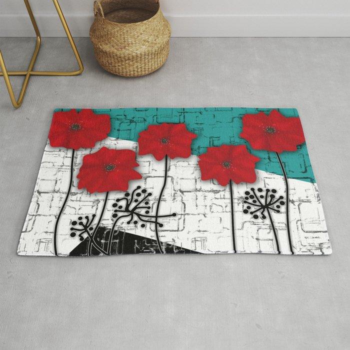 Applique Poppies On Turquoise Black White Background Rug By Fuzzyfox85