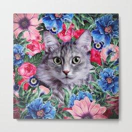 Cat In Flowers. Summer Metal Print