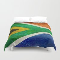 south africa Duvet Covers featuring National flag of the Republic of South Africa by Bruce Stanfield