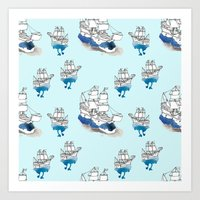 ships Art Prints featuring Ships Pattern by Brooke Weeber
