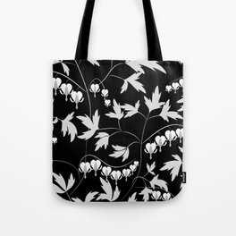 White black floral pattern Tote Bag