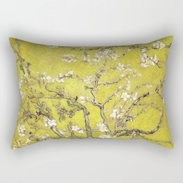 Vincent van Gogh Blossoming Almond Tree (Almond Blossoms) Gold Sky Rectangular Pillow