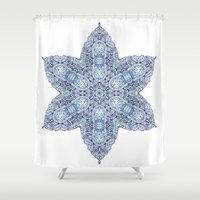 snowflake Shower Curtains featuring Snowflake by Awispa
