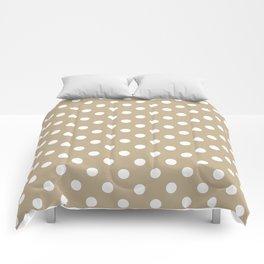 Small Polka Dots - White on Khaki Brown Comforters