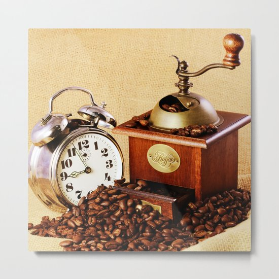 Coffee grinder with coffee beans and clock Metal Print