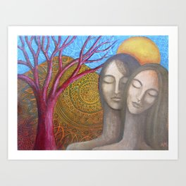 Lovers Under the Orange Moon Art Print
