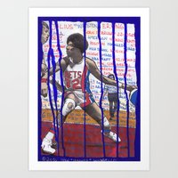 nba Art Prints featuring NBA PLAYERS - Julius Erving by Ibbanez